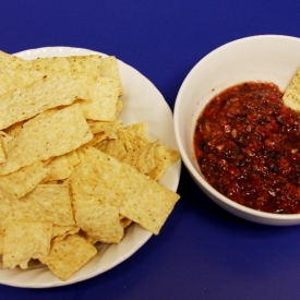 Blueberry salsa and chips